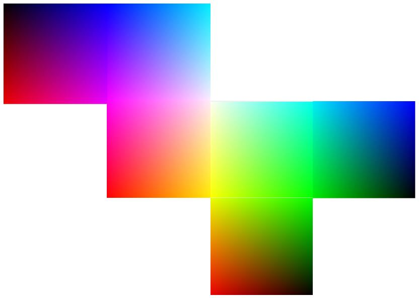 Flattened out RGB cube o' color.
